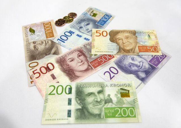 Samples of new Swedish bank notes
