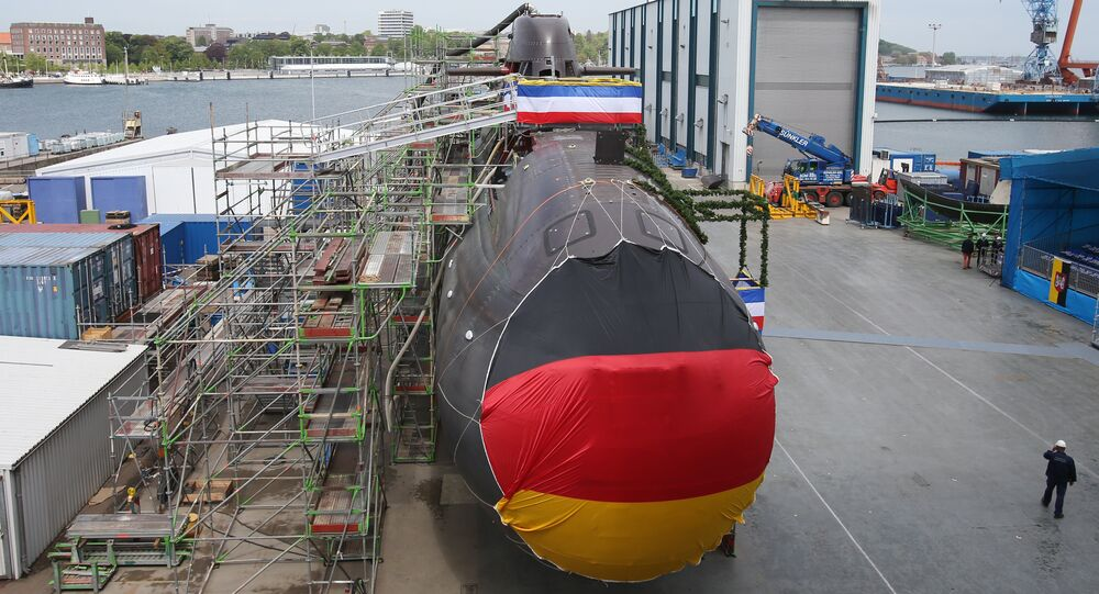 Shipyard workers and German soldiers attend the christening of the U36, a new 212A class submarine for the German Marine at the ThyssenKrupp Marine Systems shipyard in Kiel, northern Germany. (File)