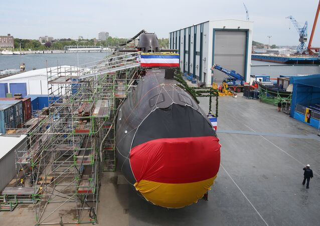 Shipyard workers and German soldiers attend the christening of the U36 new submarine of the 212A class for the German Marine at the ThyssenKrupp Marine Systems shipyard in Kiel, northern Germany. (File)