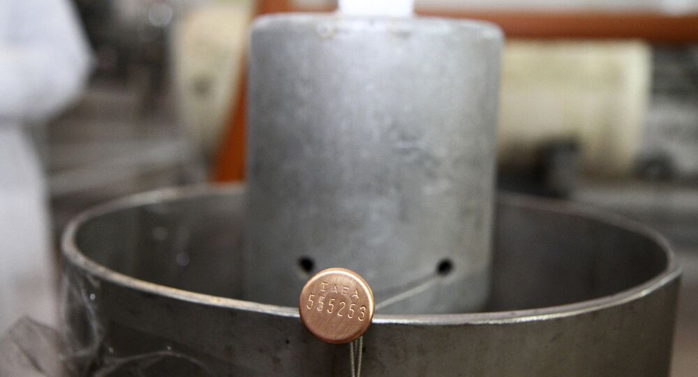 International Atomic Energy Agency (IAEA) seal on a piece of equipment at one of Iran's uranium enrichment facilities at the Natanz plant, some 200 miles (322 kilometers) south of the capital Tehran, Iran. (File)