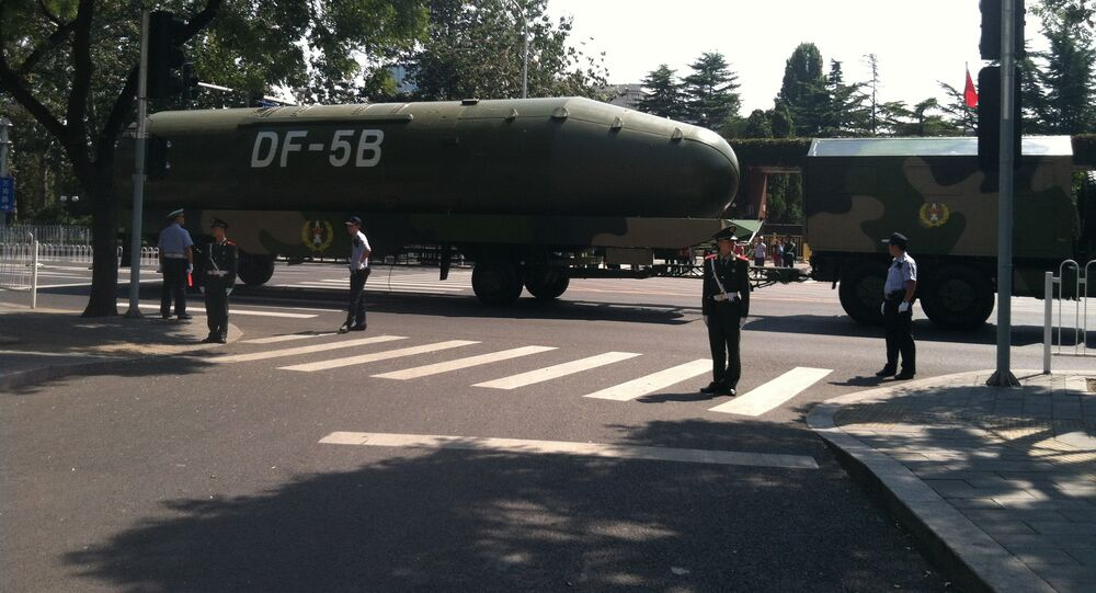 The upper stage of the newly upgraded DF-5B Chinese intercontinental ballistic missile, as seen after the military parade held in Beijing on September 3, 2015