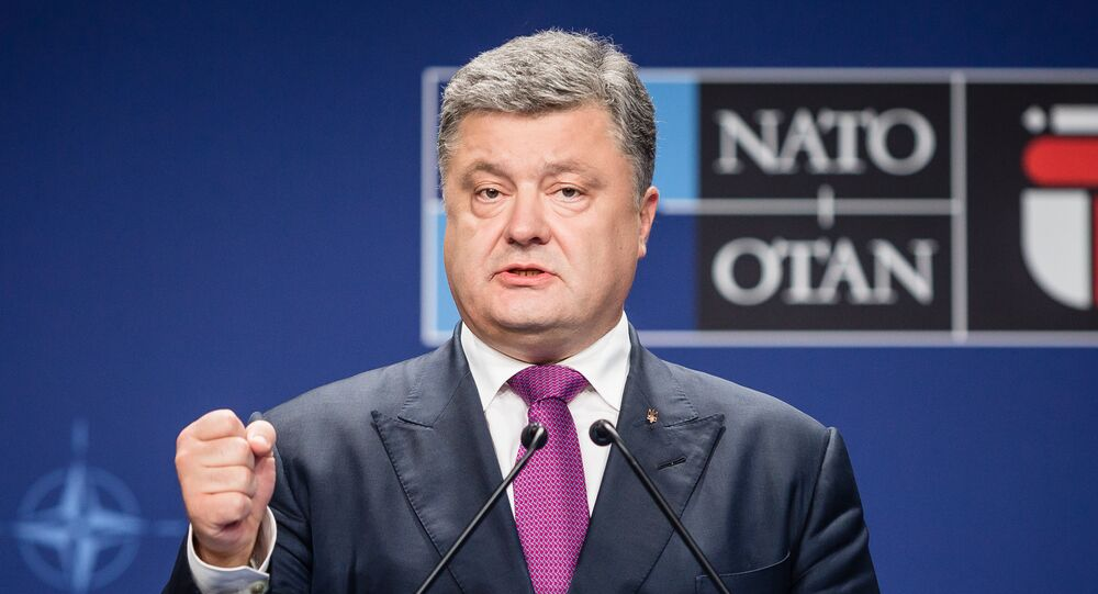 Ukraine's President Petro Poroshenko attends a joint press conference with the NATO Secretary General after a NATO Summit session on Ukraine during the second day of a NATO Summit in Warsaw, Poland on July 9, 2016
