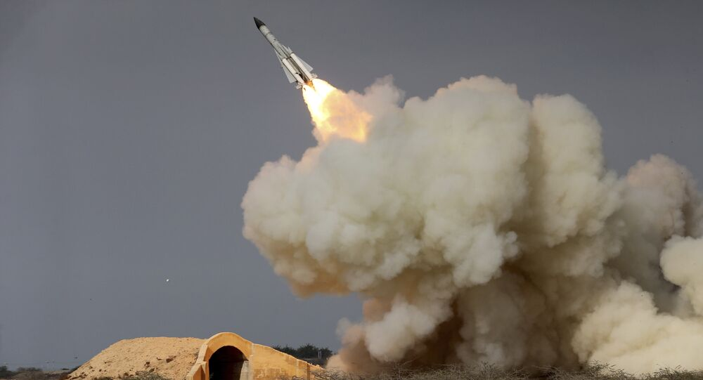 FILE -- In this Dec. 29, 2016 file photo, released by the semi-official Iranian Students News Agency (ISNA), a long-range S-200 missile is fired in a military drill in the port city of Bushehr, on the northern coast of Persian Gulf, Iran