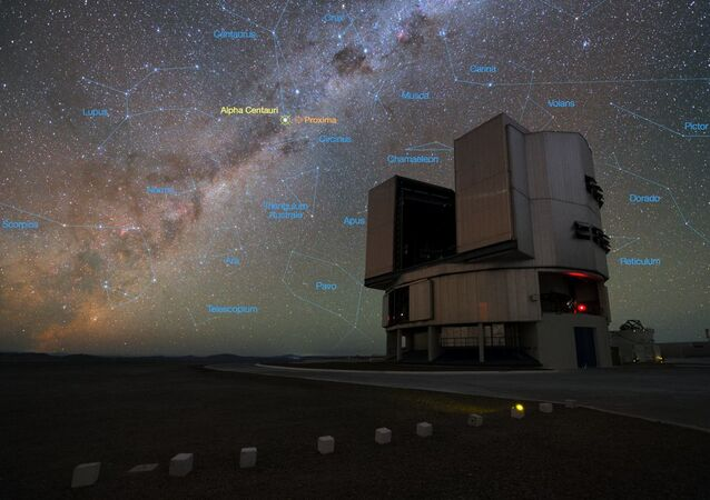 The rich stellar backdrop to the picture includes the bright star Alpha Centauri, the closest stellar system to Earth