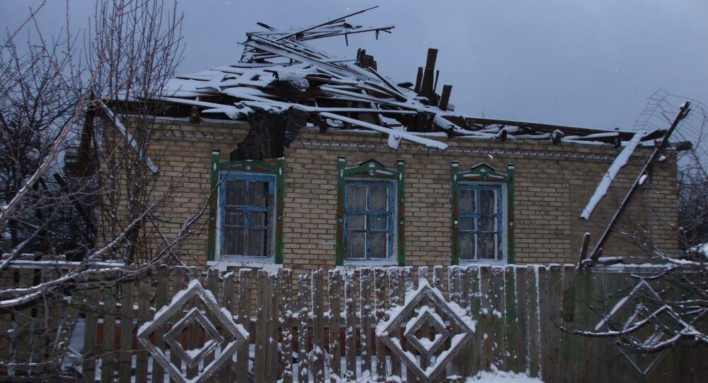 A house damaged by Gorlovka shellings outside Donetsk