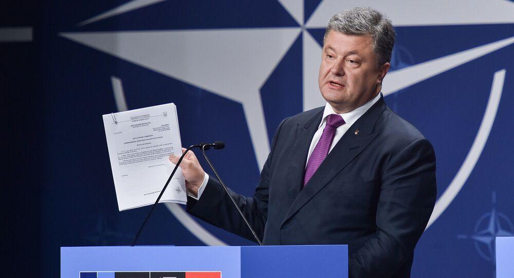 Ukrainian President Petro Poroshenko at the NATO Summit in Warsaw, Poland. file photo