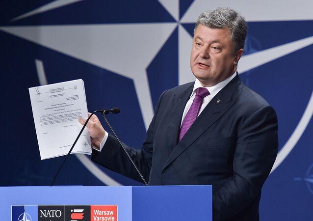 Ukrainian President Petro Poroshenko at the NATO Summit in Warsaw, Poland