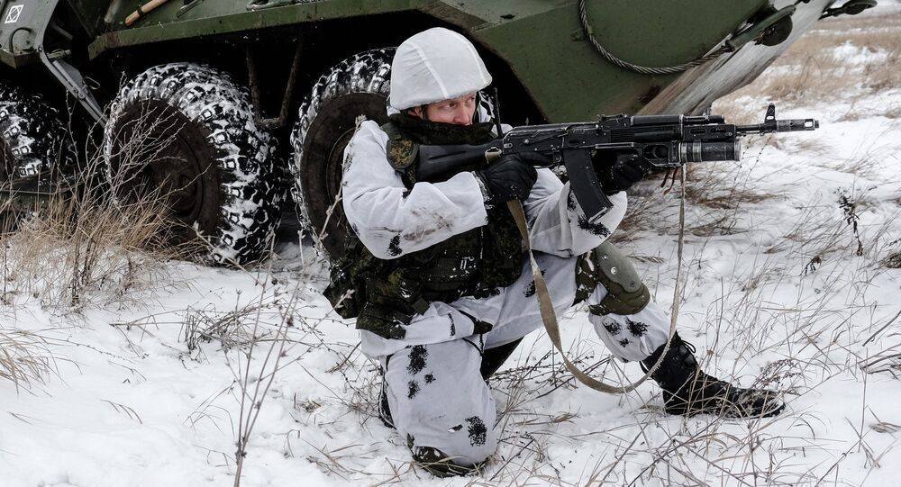 A Russian serviceman with the Central Military District's peacekeeping unit during tactical exercises conducted at the firing ground to train in Ratnik infantry combat system use