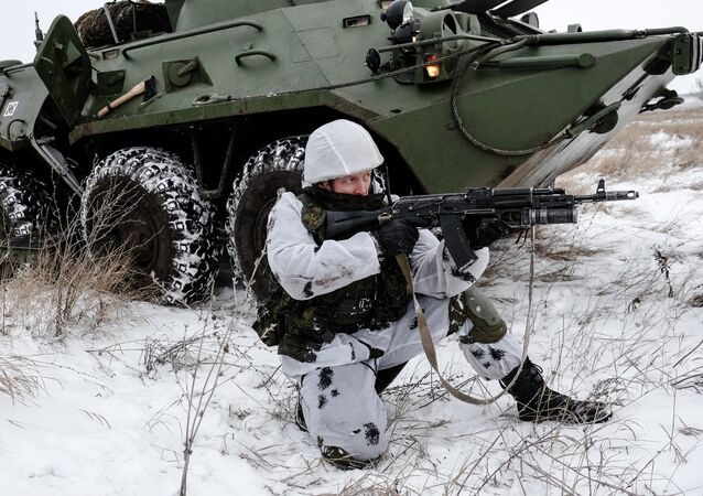 A serviceman with the Central Military District's peacekeeping unit during tactical exercises conducted at the firing ground to train in Ratnik infantry combat system use