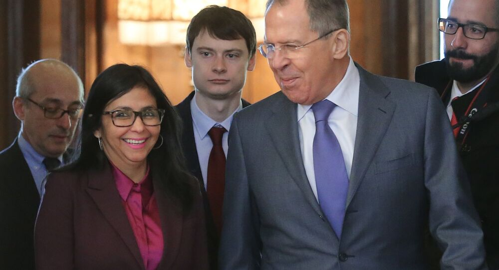 Russian Foreign Minister Sergei Lavrov and his Venezuelan counterpart Delcy Rodriguez during a meeting in Moscow, Feb. 6, 2017