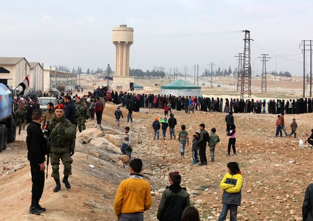 Refugees in the temporary refugee shelter in Jibreen, Aleppo. Photo: Courtesy of The Russian Center for Reconciliation of Opposing Sides in the Syrian Arab Republic