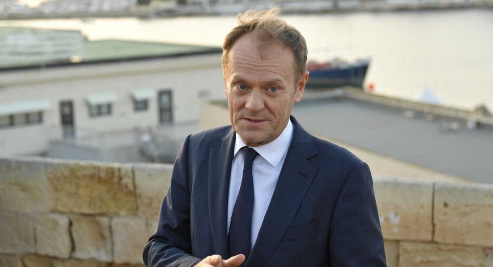 European Council President Donald Tusk speaks to the press as he arrives in Valletta on February 2, 2017