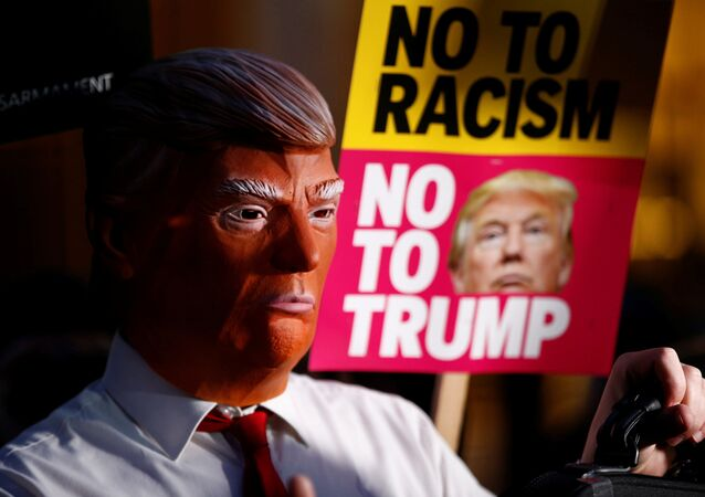 A demonstrator wears a mask during a protest against the inauguration of Donald Trump as U.S. President outside the U.S. embassy in London, Britain January 20, 2017.