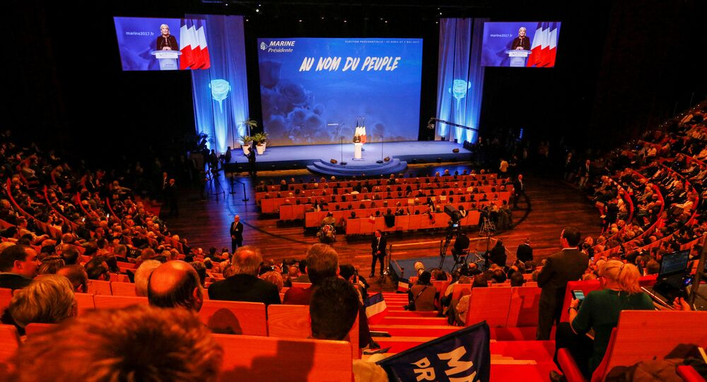 Marine Le Pen, French National Front (FN) political party leader and candidate for the French 2017 presidential election, attends the 2-day FN political rally to launch the presidential campaign in Lyon, France February 5, 2017