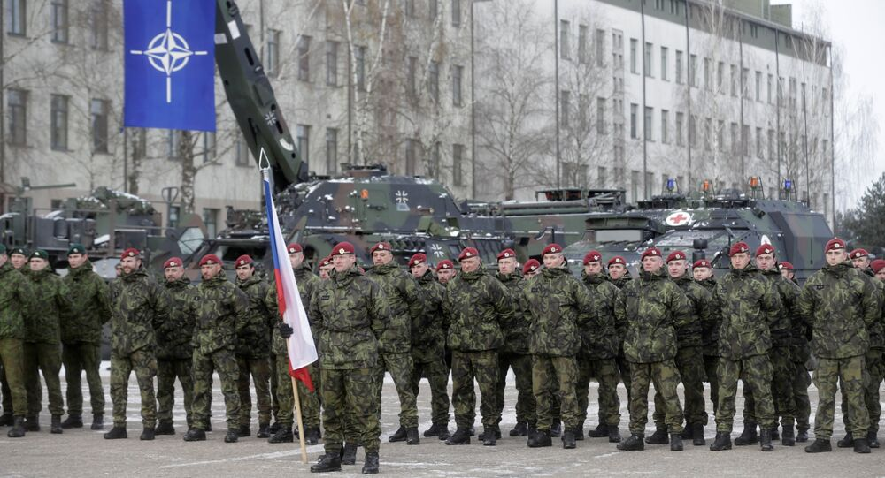Netherlands' soldiers attend a ceremony to welcome the German battalion being deployed to Lithuania as part of NATO deterrence measures against Russia in Rukla, Lithuania February 7, 2017