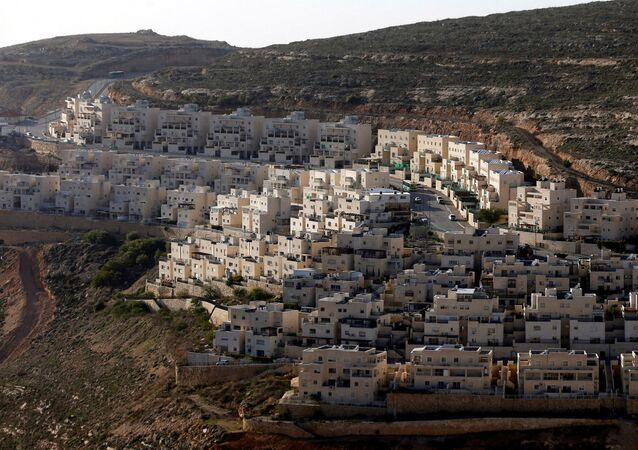 General view of houses of the Israeli settlement of Givat Ze'ev, in the occupied West Bank, 7 February 2017
