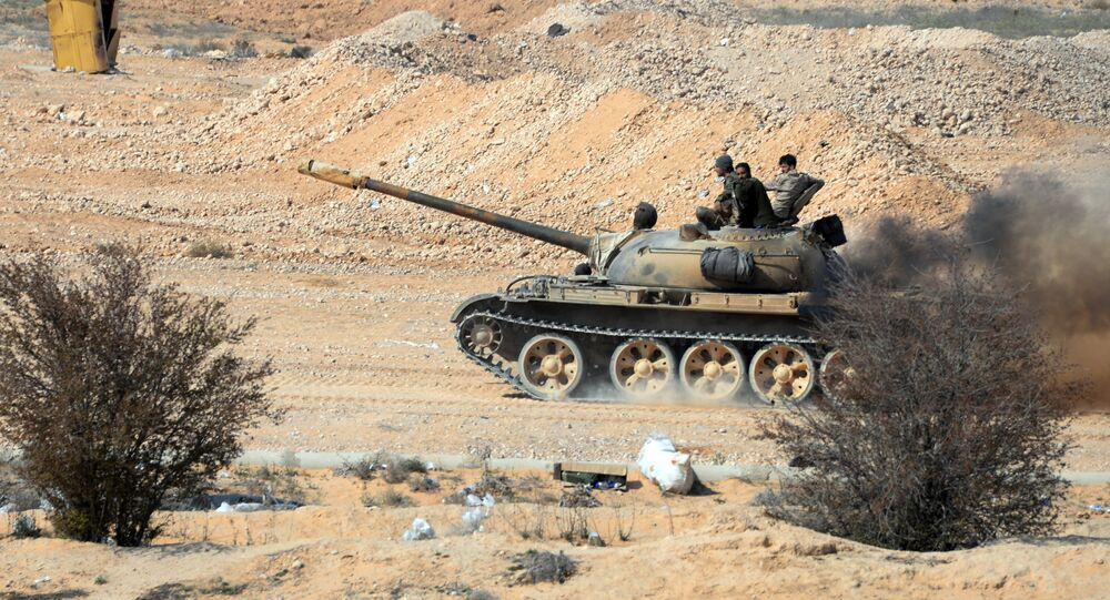 T-72 tank at the front-line of the Syrian Arab Army (SAA).