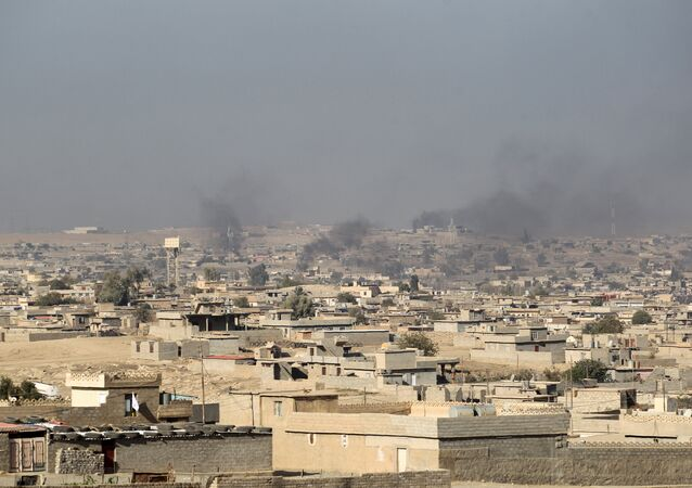 Smoke billowing from buildings in Hammam al-Alil area south of Mosul