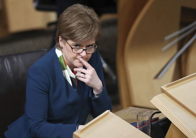 Scotland's First Minister Nicola Sturgeon sits in the main chamber of the Scottish Parliament in Edinburgh, Scotland Tuesday Jan. 17, 2017 ahead of the vote on the Scottish Government's plans to keep Scotland in the European single market even if the rest of the Britain leaves.