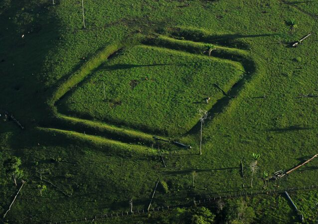 Geometric glyphs discovered in the Amazon. This one depicts a diamond.