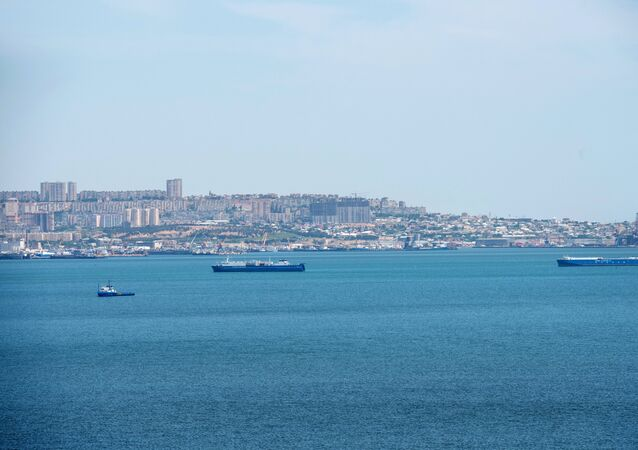 Ships in the Baku Bay of the Caspian Sea against the background of the Azerbaijani capital.