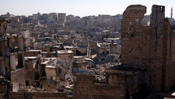 A general view shows damaged buildings at al-Kalasa district of Aleppo, Syria in Aleppo, Syria - Sputnik International