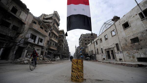 A Syrian national flag hangs in a damaged neighbourhood in Aleppo, Syria January 30, 2017 - Sputnik International