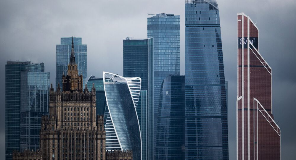 The Foreign Ministry and the Moscow City International Business Center, back, in Moscow. (File)