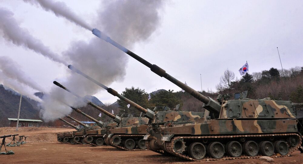 South Korean army K9 Thunder 155mm self-propelled Howitzers fire during a live-fire drill in Pocheon, 65 kms northeast of Seoul