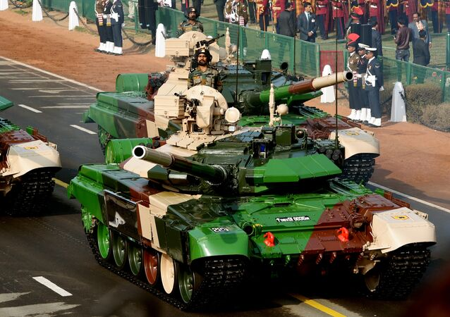 An Indian army T-90 (Bhishma) tank is seen during the full dress rehearsal for the upcoming Indian Republic Day parade in New Delhi on January 23, 2017.