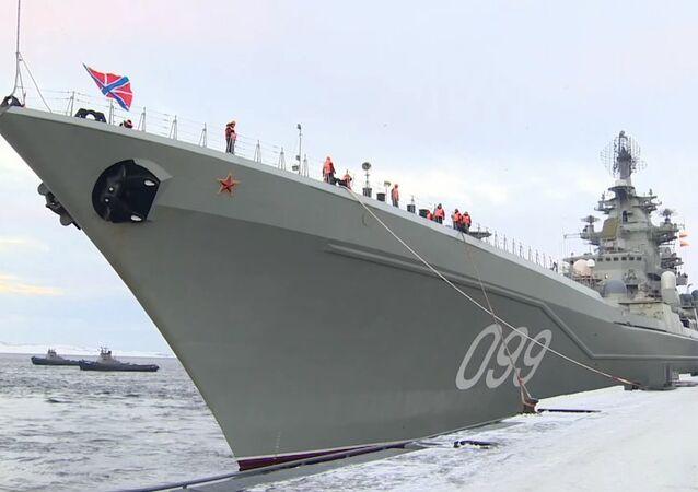 Battlecruiser Pyotr Velikiy Docks In Severomorsk