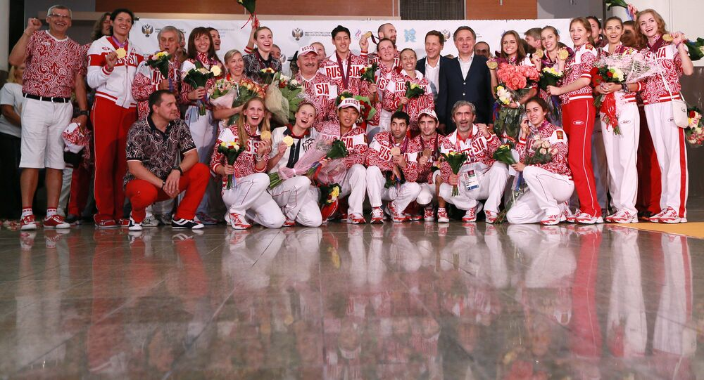 Members of the Russian Olympic team at Sheremetyevo airport. (File)