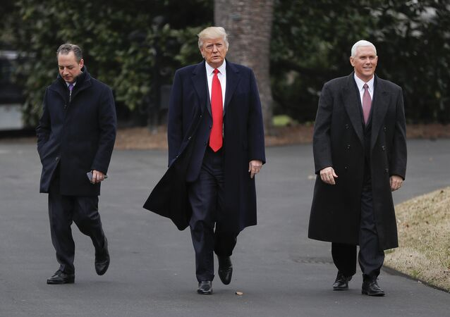 President Donald Trump, Vice President Mike Pence, right, and White House Chief of Staff Reince Priebus, left, walk together on the South Lawn of the White House in Washington to greet Harley Davidson Harley Davidson executives and union representatives
