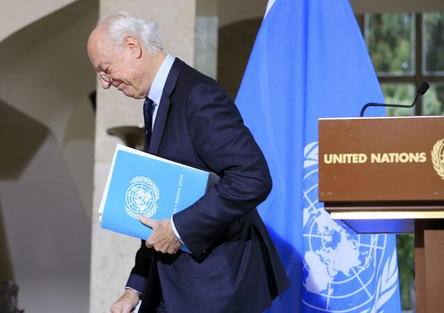U.N. mediator for Syria Staffan de Mistura leaves after a news conference after a meeting at the United Nations in Geneva, Switzerland, January 12, 2017.