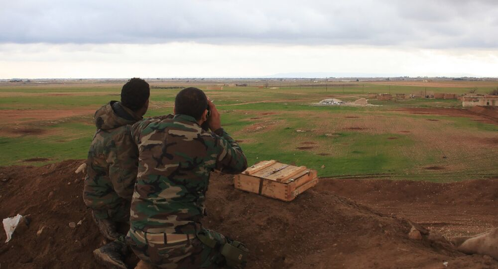 Syrian pro-government forces hold a position in the Hatabat al-Bab area, near town of Al-Bab. (File)