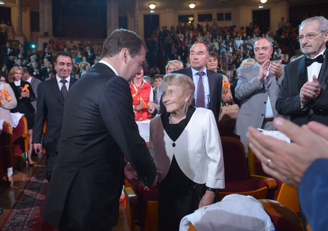 Russian President Dmitry Medvedev, foreground left, at The Calling awards ceremony honoring Russia's best doctors at the Theater of Russian Army in Moscow. (File)