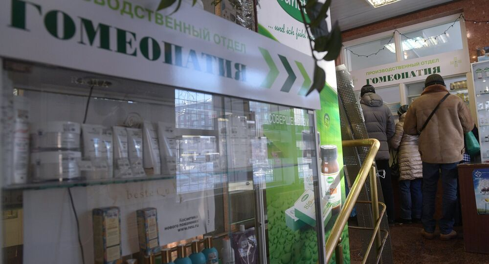 Customers at a homeopathic pharmacy in Moscow. A commission of the Russian Academy of Sciences declared homeopathy to be a pseudoscience.
