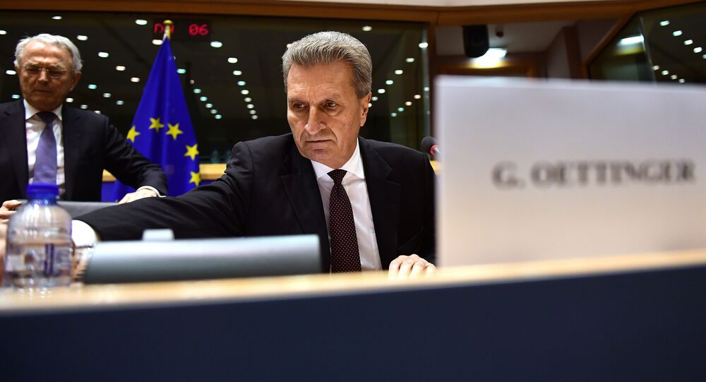 Germany's European Commissioner for the digital economy and society Guenther Oettinger attends a hearing in front of an European Parliament committee on the transfer of his portfolio to the budget and human resources commission, at the European Parliament in Brussels, January 9, 2017