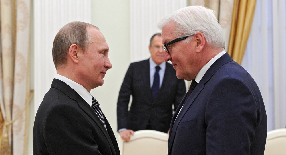 A meeting between Russian President Vladimir Putin and German Minister for Foreign Affairs Frank-Walter Steinmeier, March 23, 2016.