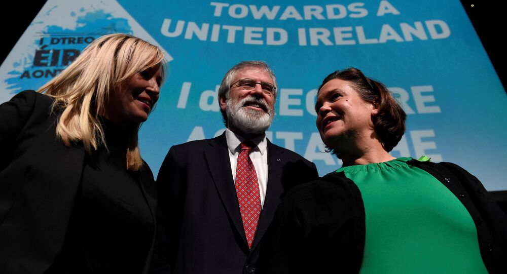 Sinn Fein's Michelle O'Neill (L), Gerry Adams and Mary Lou McDonald pose for a picture at a Sinn Fein conference on Irish Unity in Dublin, Ireland January 21, 2017