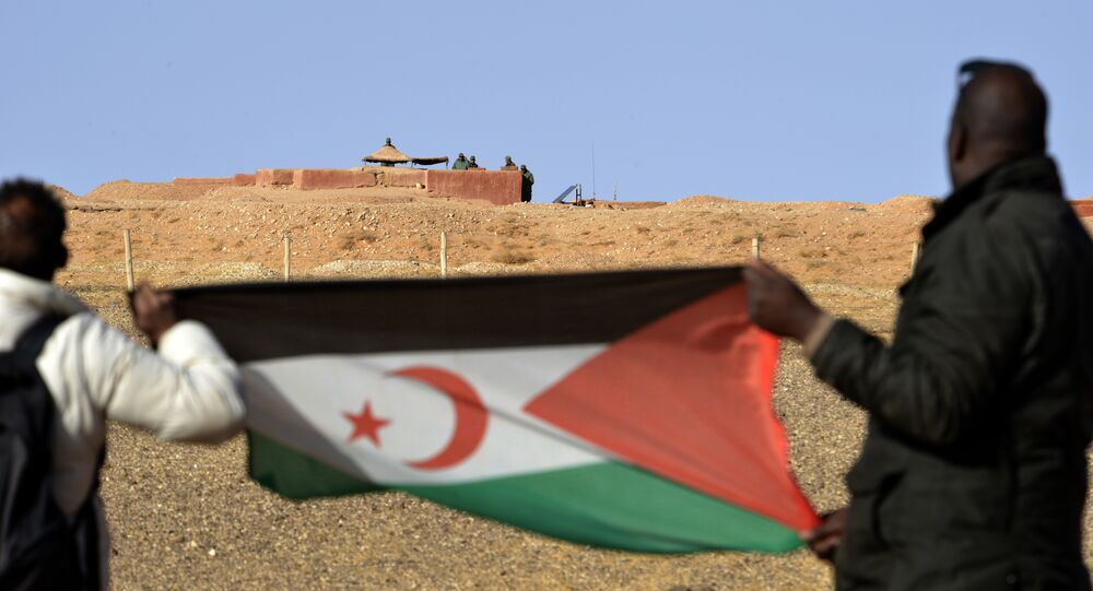 Saharawi men hold up a Polisario Front flag in the Al-Mahbes area near Moroccan soldiers guarding the wall separating the Polisario controlled Western Sahara from Morocco on February 3, 2017
