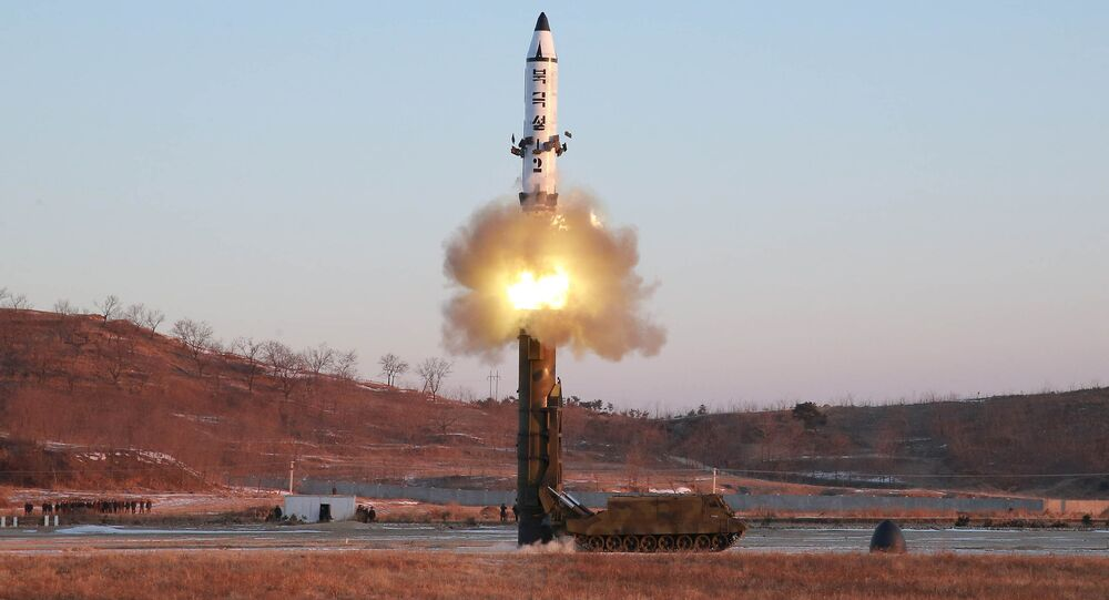 A view of the test-fire of Pukguksong-2 guided by North Korean leader Kim Jong Un on the spot, in this undated photo released by North Korea's Korean Central News Agency (KCNA) in Pyongyang February 13, 2017