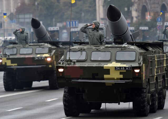Soviet-made tactical ballistic missile complexes Tochka (Point) during a military parade in Kiev, August 24, 2016