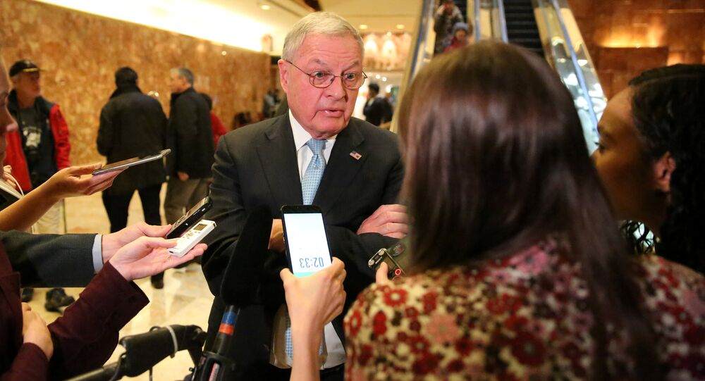 Retired Lieutenant General Keith Kellogg speaks to the media in the lobby of Donald Trump's Trump Tower in New York, U.S. November 15, 2016