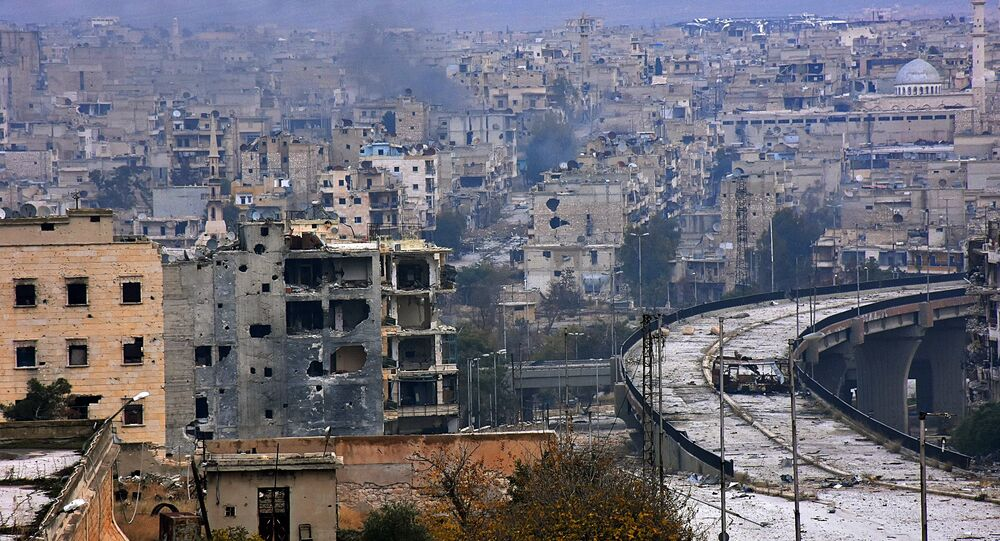 A general view shows the damage in the government-held al-Shaar neighborhood of Aleppo, during a media tour, Syria December 13, 2016.