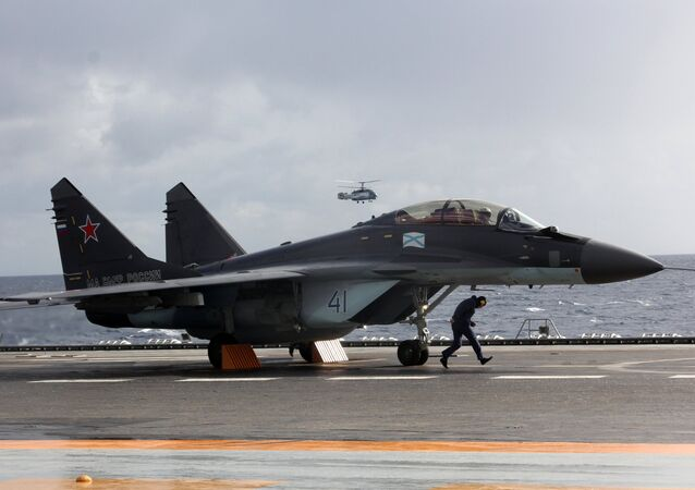 MiG-29K fighter aboard Admiral Kuznetsov heavy aircraft carrier in the Mediterranean Sea. File photo