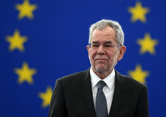 Austria's President Alexander Van der Bellen looks on before delivering a speech during a plenary session of the European Parliament on February 14, 2017 in Strasbourg, eastern France