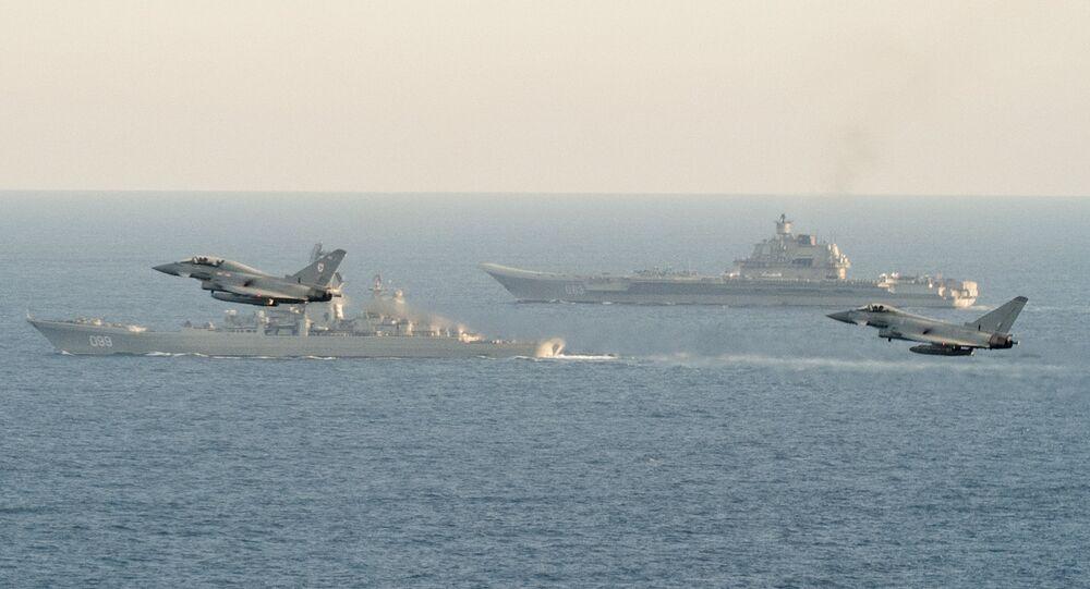 British Navy and Air Force escort Russian warships Admiral Kuznetsov and Pyotr Veliky