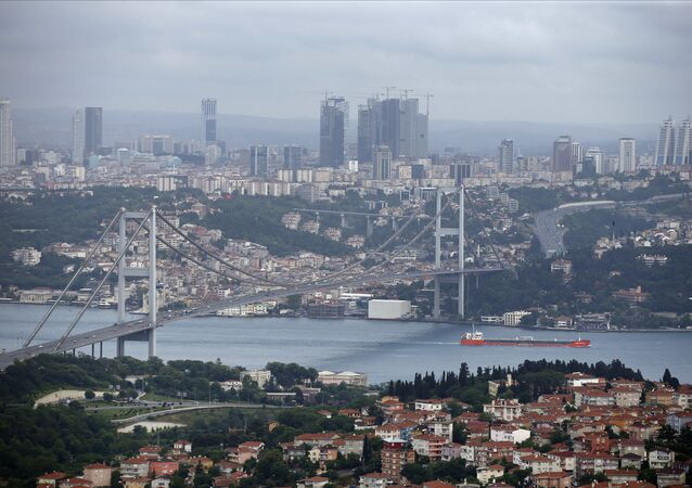 This Sunday, June 7, 2015 file photo shows a view of Istanbul with the Bosporus and the Bosporus Bridge in Turkey