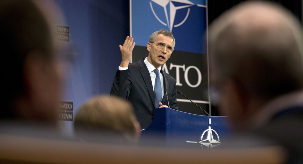 NATO Secretary General Jens Stoltenberg speaks during a media conference at NATO headquarters in Brussels on Tuesday, Feb. 14, 2017